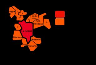 Périphérie du Mans. En orange la communauté urbaine. da189131d9a8