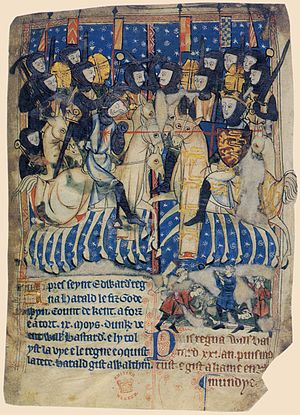 Hastings - Duke William of Normandy, stabs King Harold of England at the Battle of Hastings. 14th-century manuscript.
