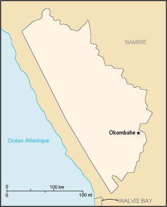 Damaraland - Map of the bantustan.