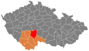 District location in the South Bohemian Region within the جمهوری چک
