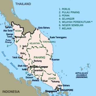 Southern Rhodesian military involvement in the Malayan Emergency - Image: Map Peninsular Malaysia