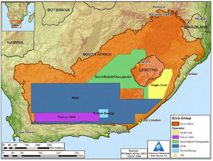 Shale gas by country - Map Showing Operator Permits in the Karoo Basin, South Africa