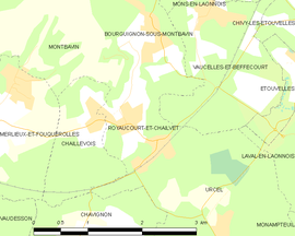 Mapa obce Royaucourt-et-Chailvet