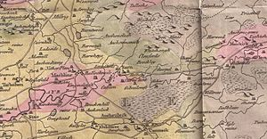 Mauchline - William Aiton's map of Mauchline and surrounding areas, circa 1811.