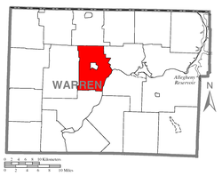 Location of Brokenstraw Township in Warren County