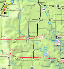 KDOT map of Greenwood County (legend)