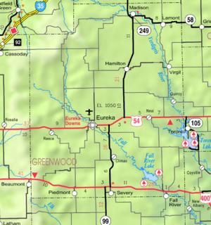 Fall River Lake - Image: Map of Greenwood Co, Ks, USA