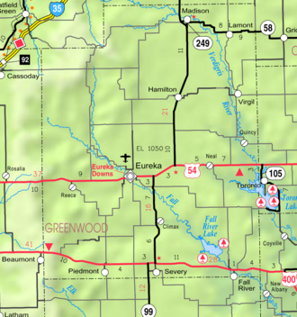 Eureka, Kansas - Image: Map of Greenwood Co, Ks, USA
