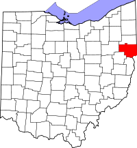 Locatie van Columbiana County in Ohio