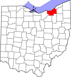 map of Ohio highlighting Cuyahoga County