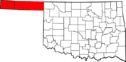 Map of Oklahoma highlighting Panhandle