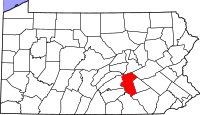Map of Pennsylvania highlighting Dauphin County