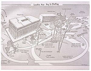 Kent State shootings - Map of the shootings