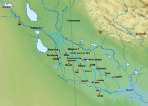 Gungunum - Detailed map of southern Mesopotamia in the 20th century BC