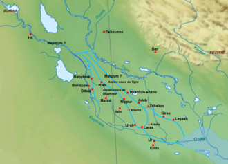 Gungunum - Detailed map of southern Mesopotamia in the 20th century BC