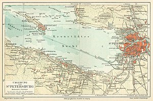 Kronstadt rebellion - 1888 German map of Kronstadt Bay.