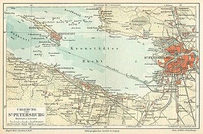 Situación de la isla y dePetrogradoen elgolfo de Finlandia, mapa de 1888. Aparecen los puntos más cercanos de la costa que tuvieron un papel importante en la rebelión y su aplastamiento comoOranienbaum,PeterhofoLisy Nos.
