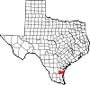 State map highlighting Kleberg County