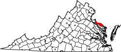 Map of Virginia highlighting Westmoreland County.svg