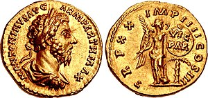 Coin of Marcus Aurelius. Victoria appears on the reverse, commemorating Marcus' Parthian victory.