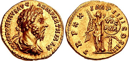 Aureus of Marcus Aurelius (AD 166). On the reverse, Victoria is holding a shield inscribed 'VIC(toria) PAR(thica)', referring to his victory against the Parthians. Inscription: M. ANTONINVS AVG. / TR. P. XX, IMP. IIII, CO[N]S. III. Marcus Aurelius, aureus, AD 166, RIC III 160.jpg