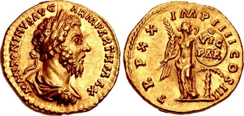 Marcus Aurelius, aureus, AD 166, RIC III 160
