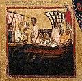 Margaritone d'arezzo, madonna col bambino in trono e scene religiose, 1263-64 ca. 05 san nicola avvisa i pellegrini dell'olio avvelenato.jpg