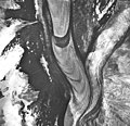 Margerie Glacier, tidewater glacier with hanging glaciers on the mountainsides, September 17, 1966 (GLACIERS 5627).jpg
