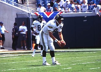 Jacksonville Jaguars - Mark Brunell practicing with the Jaguars before their inaugural game on September 3, 1995.