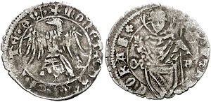Marquard of Randeck - A denarius issued during the patriarchate of Marquard.