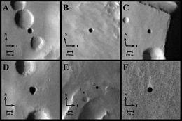 THEMIS image of cave entrances on Mars
