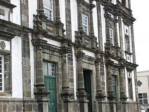 Santa Cruz das Flores - The ornate facade of the Church of Nossa Senhora da Conceição, the centre of religious life until the expulsion of the religious orders