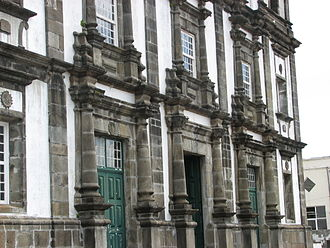 Santa Cruz das Flores - The ornate facade of the Church of Nossa Senhora da Conceição, the centre of religious life until the expulsion of the religious orders