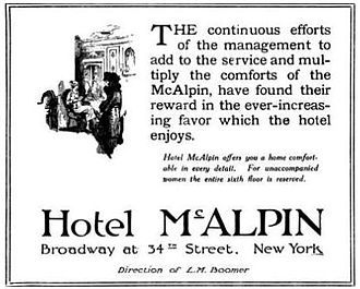Hotel McAlpin - 1920 Advertisement for the Hotel McAlpin in the Wellesley Alumnae Quarterly magazine