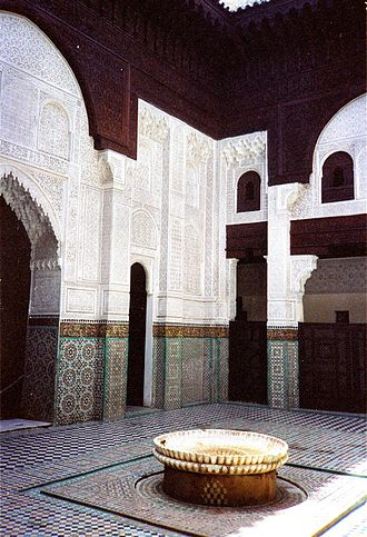Marinid dynasty - Court of the medersa Bou Inania in Meknes, Morocco