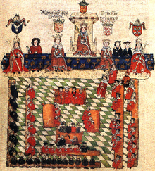 Illustration of a medieval parliament with the king and his lords and bishops.