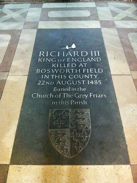 Former memorial ledger stone to Richard III in the choir of Leicester Cathedral, since replaced by his stone tomb (as illustrated further below) Memorial to King Richard III of England in Leicester Cathedral.jpg