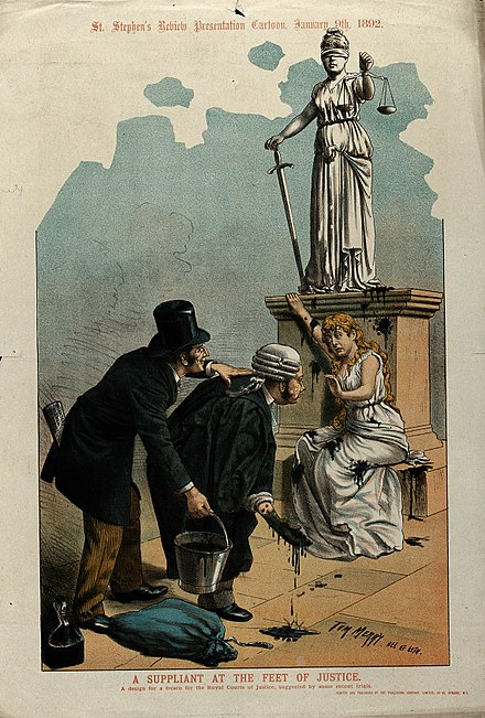 A British political cartoon showing a barrister and another man throwing black paint at a woman sitting at the feet of a statue representing Justice. Men throwing black paint at a woman seeking justice Wellcome V0050338.jpg
