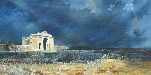 The Menin Gate at Midnight by Will Longstaff, showing the dead passing through the Menin Gate Menin Gate at midnight (Will Longstaff).jpg