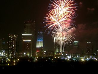 Color scheme - Celebration with fireworks over Miami, Florida on American Independence Day.  Bank of America Tower is also lit with the red, white and blue color scheme.