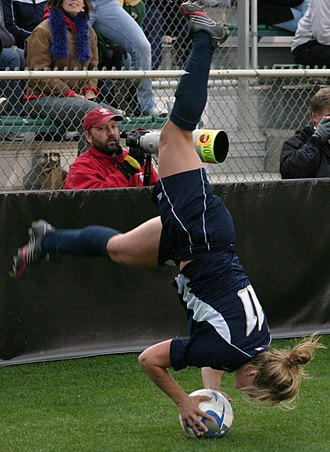 Throw-in - A Notre Dame Fighting Irish women's soccer player attempting a flip throw