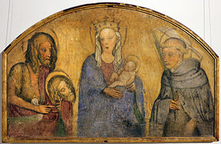 Madonna and child between John Baptist and Peter Martyr