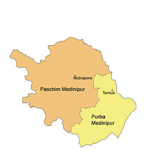 Midnapore district - A map of the bifurcated Midnapore District