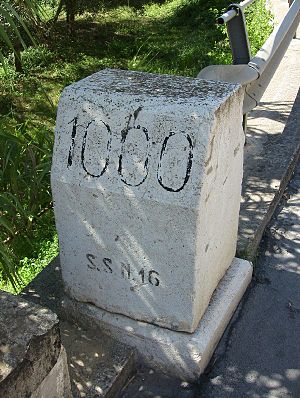 Milestone km 1000 on the SS16 road (closer look)
