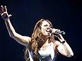 Miley Cyrus singing during the Wonder World Tour concert in Portland, Oregon.jpg
