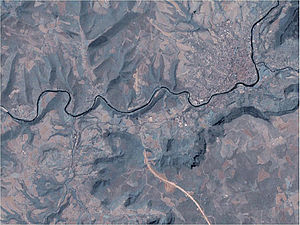 Millau Viaduct - Satellite image of the proposed route before construction of the bridge