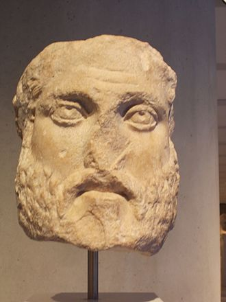 Battle of Marathon - Ancient sculpture of the head of Miltiades, Chief Archon at Athens.