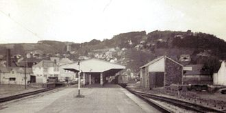 Minehead railway station - Looking westwards in 1970