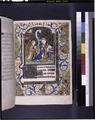 Miniature of Annunciation, border design with merman playing horn, initials, linefiller (NYPL b12455533-426025).tif
