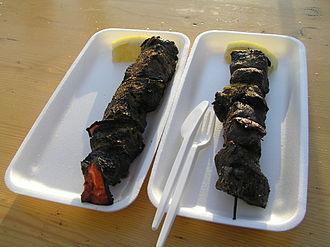 Whaling in Iceland - Minke whale meat kebabs, Reykjavik